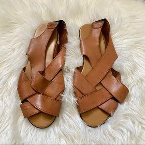Vintage Leather Criss Cross Strap Sandals